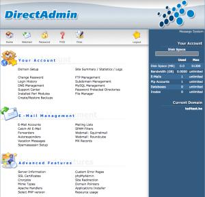 DirectAdmin controlepaneel