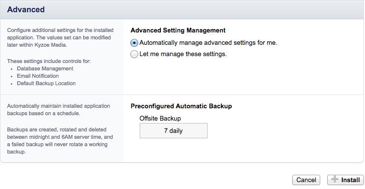 Installeer WordPress door op install te klikken