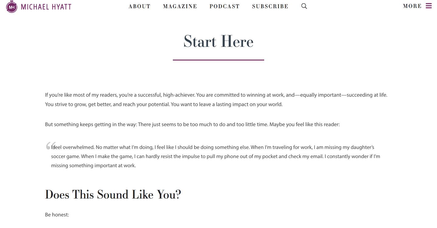 Start hier pagina Michael Hyatt (LodiPlanting.com)